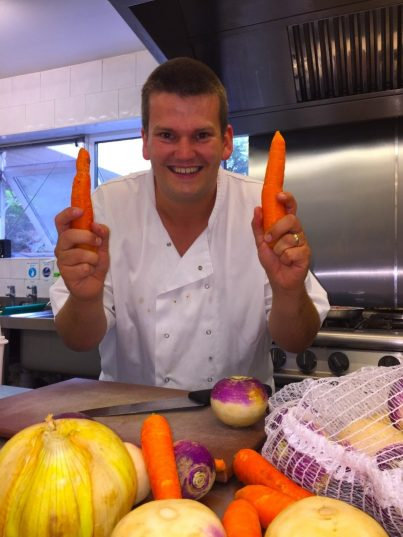 Head Chef Ben cooking with the ever popular veg